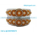 White Colour Silk Thread Bangles with Pearl