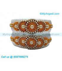White Colour Silk Thread Bangles with Pearl