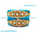 Blue Colour Silk Thread Bangles with Pearl