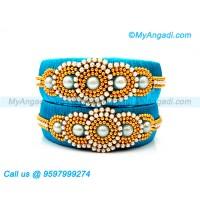 Blue Colour Silk Thread Bangles with Pearl