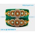 Teal Green Colour Silk Thread Bangles with Pearl