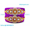 Purple Colour Silk Thread Bangles with Pearl