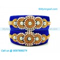 Royal Blue Colour Silk Thread Bangles with Pearl