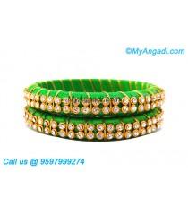 Lime Green Silk Thread Bangles with Gold Jari