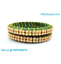 Dark Green Silk Thread Bangles with Gold Jari
