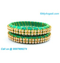 Green Colour Silk Thread Bangles with Gold Jari