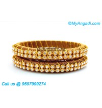 Kakki Colour Silk Thread Bangles with Gold Jari