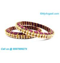 Maroon Colour Silk Thread Bangles with Gold Jari