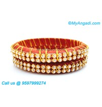 Brick Red Colour Silk Thread Bangles with Gold Jari