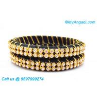 Black colour Silk Thread Bangles with Gold Jari