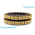 Dark Blue Colour Silk Thread Bangles with Gold Jari