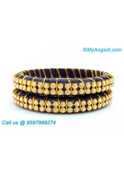 Dark Blue Colour Silk Thread Bangles with Gold Jari