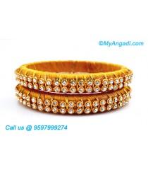 Golden Colour Silk Thread Bangles with Gold Jari