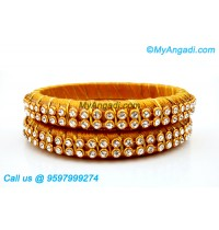 Dark Yellow Colour Silk Thread Bangles with Gold Jari