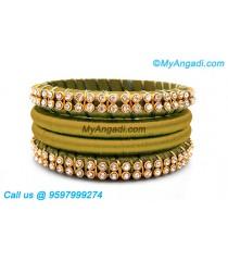 Olive Green Colour Silk Thread Bangles with Gold Jari