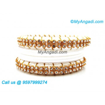 White Colour Silk Thread Bangles with Gold Jari
