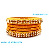 Golden Colour Silk Thread Bangles with Gold Jari