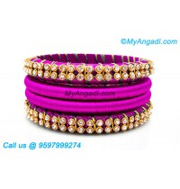 Purple Colour Silk Thread Bangles with Gold Jari