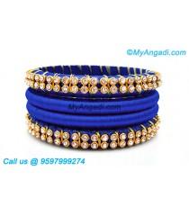 Royal Blue Colour Silk Thread Bangles with Gold Jari