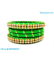 Lime Green Silk Thread Bangles with Gold Jari