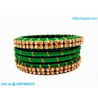 Dark Green Silk Thread Bangles with Gold Jari