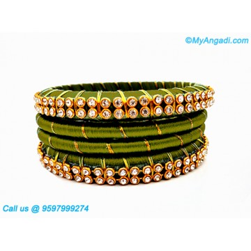 Olive Green Colour Silk Thread Bangles with Gold Jari