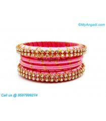 Rose Colour Silk Thread Bangles with Gold Jari