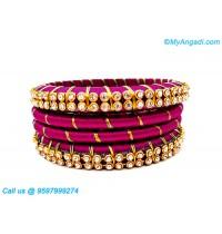 Majenta Colour Silk Thread Bangles with Gold Jari