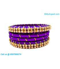 Violet Colour Silk Thread Bangles with Gold Jari