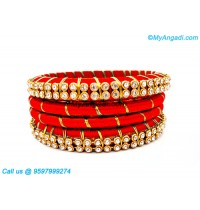 Orange Colour Silk Thread Bangles with Gold Jari