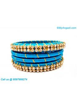 Blue Colour Silk Thread Bangles with Gold Jari