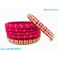 Pink Colour Silk Thread Bangles with Gold Jari