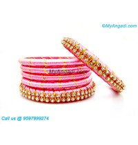 Rose Colour Silk Thread Bangles with Gold Jari
