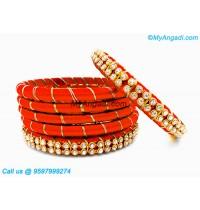 Orange Colour Silk Thread Bangles with Gold Jari