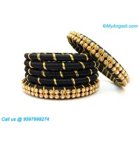 Black colour Silk Thread Bangles with Gold Jari