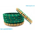 Teal Green Colour Silk Thread Bangles with Gold Jari