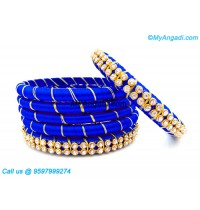 Royal Blue Colour Silk Thread Bangles with Gold Jari