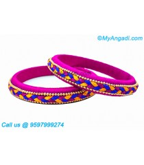 Pink Colour Silk Thread Bangles