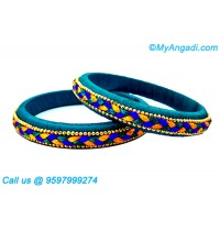 Teal Green Colour Silk Thread Bangles