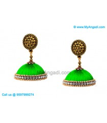 Lime Green Color Silk Thread Jhumukka Earrings