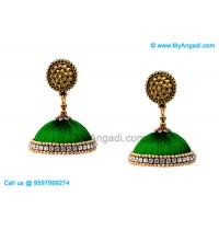 Teal Green Colour Silk Thread Jhumukka Earrings