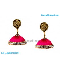 Majenta Colour Silk Thread Jhumukka Earrings