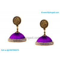 Violet Colour Silk Thread Jhumukka Earrings