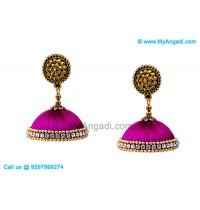 Purple Colour Silk Thread Jhumukka Earrings