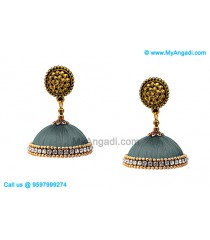 Grey Colour Silk Thread Jhumukka Earrings
