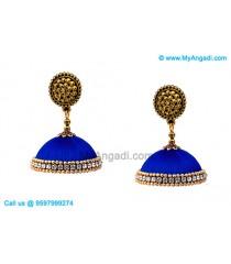 Royal Blue Colour Silk Thread Jhumukka Earrings