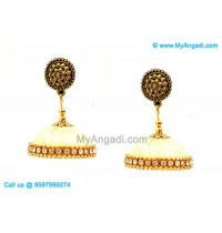 Ivory Colour Silk Thread Jhumukka Earrings