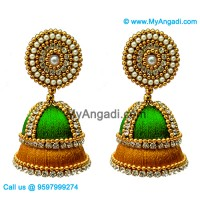 Lime Green - Golden Combination Silk Thread Jhumukka Earrings