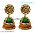 Green Colour - Golden Combination Silk Thread Jhumukka Earrings