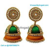 Green Colour - Golden Combination Silk Thread Jhumukka Earrings
